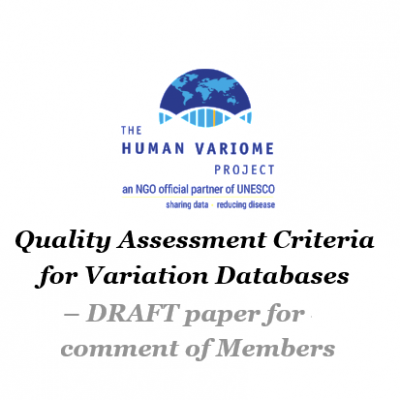 DRAFT paper for comment from Members - Quality Assessment Criteria for Variation Databases